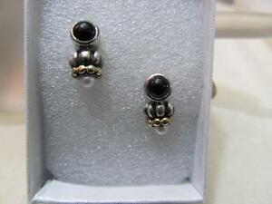 Vintage Lagos Caviar Black Onyx & Pearl Sterling Silver & 18k Gold Stud Earrings