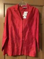 New Chico's Women's Blazer Jacket Red 100% Rayon,100% Silk Embroidery Size 2
