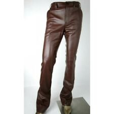 Leather Pants Real Jeans Mens Premium Brown Stitches Men S Motorcycle Style 47