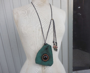 Beaded Onyx Green Suede Leather Drawstring Necklace Rasta Medicine Bag Pouch