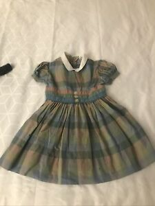 Vintage TINY TOWN TOGS Childs Toddler Cotton DRESS Blue Plaid Pleated / Collar