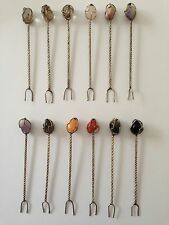New listing Set of 12 Vintage Sterling Silver with Gemstone Hors D'oeuvres Picks