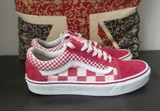 Womens Vans Off The Wall Old Skool Check Pink And White Size UK 5