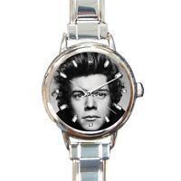 Harry Styles One Direction Quality Round Italian Charm Wrist Watch 16 Links Gift
