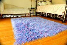 Faux Fur Rug 3x5 Rainbow Fur Area Rug Rectangle Blue Fuchsia White Mongolian