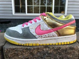Women's Vintage Nike Dunk Low 6.0 2008 Shoes Size 6.5 White/Gold 314141-162