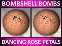 2 PACK SET! LARGE 4.5 OZ BOMBSHELL BATH BOMB FIZZY DANCING ROSE PETALS SHEA OIL