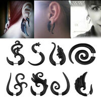2Pcs Acrylic Spiral Horn Earrings Gauge Fake Cheater Stretcher Ear Plug Piercing