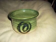 """COLLECTABLE MOFFAT POTTERY GLAZED POT DISH RIBBED GREEN BODY 5.5"""""""