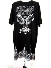 Asos Womens NWT Punk Black White Reckless Devotion Lace Trim Dress Top Size 14