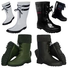 NEW Lace Up Short Wellies Garden Festival Rain Traditional Calf Wellington Boots