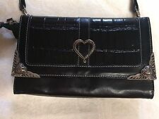 Black Leather Clutch Wallet Purse Evening Handbag Heart Jeweled Vintage