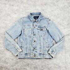 Zara Mens Large Denim Collard Jean Jacket Adult Coat Cotton Medium Wash Casual