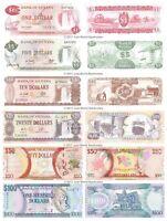 Guyana 1 + 5 + 10 + 20 + 50 + 100 Dollars Set of 6 Banknotes 6 PCS  UNC