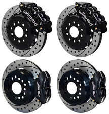"WILWOOD DISC BRAKE KIT,2005-2014 FORD MUSTANG,13""/12"" DRILLED,BLACK CALIPERS"