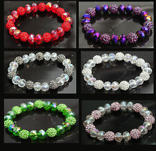 Crystal Shamballa Beads Aurora Borealis (AB) Faceted Glass Bracelet Stretch Cord