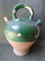 ART POPULAIRE POTERIE EMAILLEE  ANCIENNE PETITE CRUCHE  DECO CUISINE CAMPAGNE