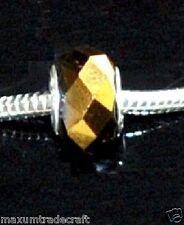 10 un. Oro Metálico Cristal encanto granos Fit europeo serpiente cadena por 1st Clase