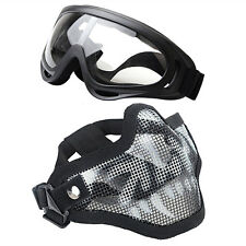 Camo Airsoft Half Face Mask Steel Mesh with Goggles Set Skull Brand New Outdoor