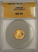 1989 $5 American Gold Eagle Coin AGE 1/10th Oz ANACS MS-65 Gem Example