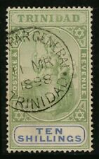 Trinidad & Tobago 1896 10/- Britannia FU Fiscal, SG 123