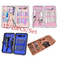 12/15/20Pcs Manicure Pedicure Nail Care Set Cutter Cuticle Clippers Kit + Case