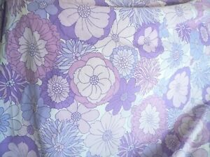 Vintage 60/70s Purple/Lilac Floral Sheet Retro Kitsch St Michael Throw/Fabric
