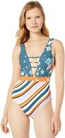 Maaji Women's 236547 One Piece Swimsuit Emerald Sunsets Green Flower Size L