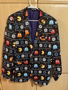 Mens Suitmeister Pac-Man Pacman Christmas Blazer Size Medium 40 Slim Fit