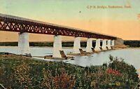 SASKATOON SASKATCHEWAN CANADA~CANADIAN PACIFIC RAILROAD BRIDGE 1912 POSTCARD