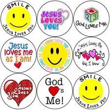144 SMILE Gesù ti ama 30mm per Bambini Adesivi Ricompensa cristiana, Chiesa