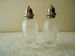 "Vintage Set Of Tall Swirled Glass Salt & Pepper Shakers "" BEAUTIFUL SET """