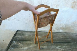 Vintage old French 1920 folding sewing basket knitting bag for doll miniature