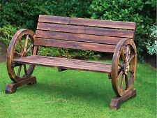 Stylish Garden Brunt Wood Wagon Wheel 2 Seater Bench Outdoor Patio Furniture