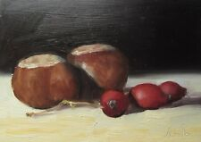 Oil Painting, Conkers & Rose Hips Original impressionist still life picture.