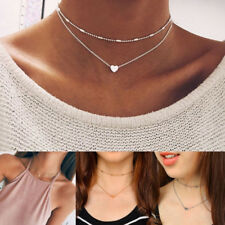 Double Layers Chain Heart Love Necklace Small Heart Choker Statement Collar
