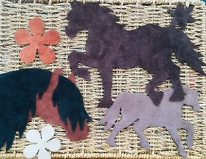 Set of 3 Native Ponies / Flowers. Applique / crafts pack. Shades of Brown. Welsh
