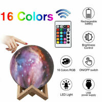 Rechargeable Moon Lamp Night Light Kids Dimmable LED 16 Color Change 3D Dimmable