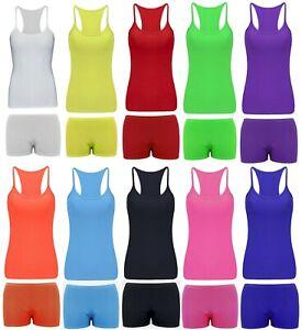 Kids Girls Neon Fluorescent Vest Top & Shorts 80s Girls Dance Wear Fancy Dress