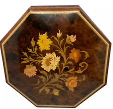 Octagonal Inlaid Floral Music Box Santa Lucia Made in Sorrento Italy