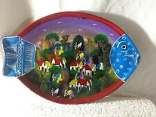 Pre-Owned VINTAGE FISH SHAPED CHIMINEA TERA COTTA CLAY PAINTED MEXICAN FOLK ART