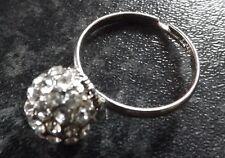 Clear Rhinestones Round Shamballa Ring, Adjustable. Party Fancy Dress, Halloween