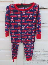 Mudpie Boys Fire Truck Red & Blue Pant & Shirt Pant Pajama Set Size 5T