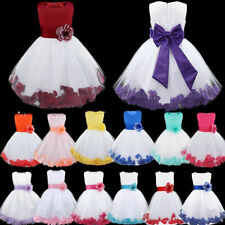 Petals Baby Princess Bridesmaid Flower Girls Dress Wedding Formal Maxi Prom Gown