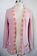 CHANEL 100% cashmere pale pink with colored fringe trim cardigan sweater size 38