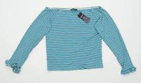 Marks & Spencer Womens Size 18 Striped Blue Off The Shoulder Top (Regular)