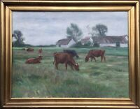 Oil Painting Aage. Roose 1880 - 1970 Grazing Cows Denmark Paris ROM London