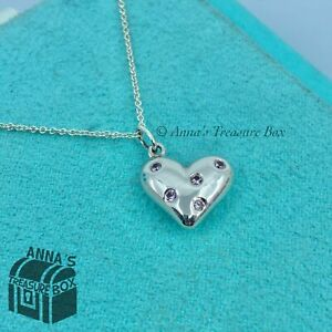 """Tiffany & Co. 925 Silver 5 Five Pink Sapphire Etoile Heart 18"""" Necklace (pouch)"""