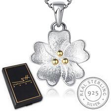 Blume Kette Halskette 925 Sterling Silber Damen, Eis-matt & vergoldet, im ETUI