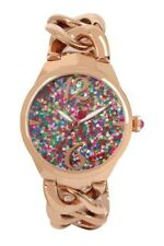 Betsey Johnson Women's 38mm Glitzy Dial Rose Chain Link Watch Bj00638-02